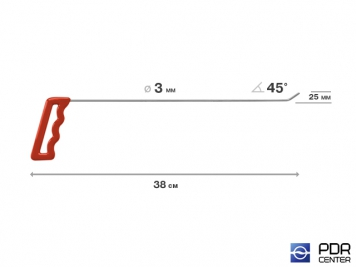 Фото Крючок правый угловой, плоский (длина 38 см, угол загиба 45º, длина загиба 25 мм, Ø 3 мм)