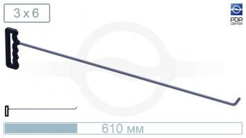 Фото Крючок с наконечником-лезвием (длина 61 см, ширина 6 мм, толщина 3 мм, длина загиба 2,5 см, угол загиба 45º)