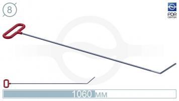 Фото Крючок со стандартным загибом, плоский (длина 106 см, длина загиба 130 мм, угол загиба 45º, Ø 8 мм)