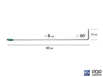Фото Крючок со стандартным загибом, плоский (длина 60 см,  угол загиба 90º, длина загиба 75 мм, Ø 8 мм)