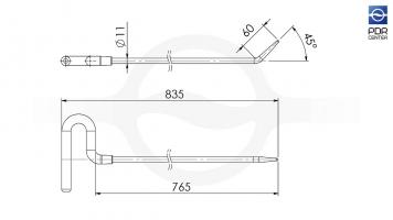 Фото Крючок со стандартным загибом (длина 83,5 см, длина загиба 60 мм, угол загиба 45º, Ø 11 мм)