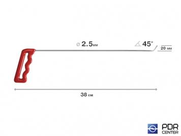 Фото Крючок со стандартным загибом, плоский (длина 38 см,  угол загиба 45º, длина загиба 20 мм, Ø 2,5 мм)