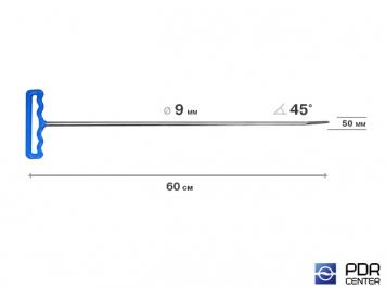 Фото Крючок с двойным загибом, закруглённый (длина 60 см,  угол 1 загиба 45º, длина 1 загиба 100 мм, угол 2 загиба 20º, длина 2 загиба 45 мм, Ø 9 мм)