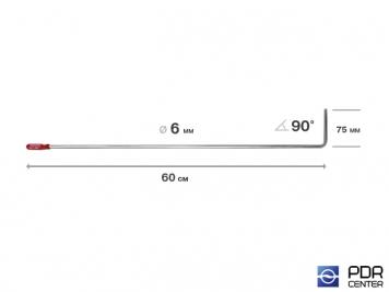 Фото Крючок со стандартным загибом, плоский (длина 60 см,  угол загиба 90º, длина загиба 75 мм, Ø 6 мм)