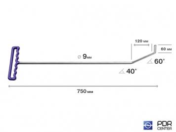 Фото Крючок с двойным загибом, плоский (длина 75 см, длина 1 загиба 12 см, длина 2 загиба 6 см, угол загиба 100°, Ø 9 мм)