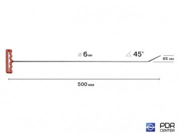 Фото Крючок со стандартным загибом, плоский (длина 76 см, угол загиба 45º, длина загиба 65 мм, Ø 6 мм)