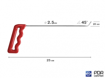 Фото Крючок со стандартным загибом, плоский (длина 25 см,  угол загиба 45º, длина загиба 20 мм, Ø 2,5 мм)