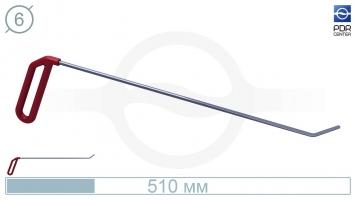 Фото Крючок левый угловой, плоский (длина 51 см, угол загиба 45º, длина загиба 35 мм, Ø 6 мм)
