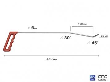 Фото Правый угловой (длина 45 см, угол загиба 45º, Ø 6 мм)