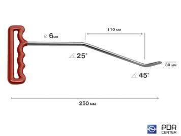 Фото Правый угловой (длина 25 см,угол первого загиба 25º, угол второго загиба 45º, Ø 6 мм)