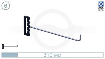 Фото Крючок с прямым загибом, закругленный (длина 30 см, угол загиба 90°, длина загиба 38 мм, Ø 6 мм)