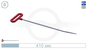 Фото Крючок прямой с небольшим загибом, плоский (длина 41 см, длина загиба 85 мм,  Ø 6 мм)