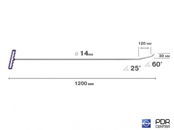 Фото Крючок с двойным загибом (лезвиный) (длина 120 см, длина 1 загиба 12 см, длина 2 загиба 3 см, угол загиба 85º, Ø 14 мм)