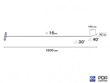 "Фото ""Берта"" с двумя загибами, острый (длина 180 см, длина 1 загиба 10 см, длина 2 загиба 6 см, угол загиба 70º, Ø 16 мм)"