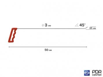 Фото Крючок правый угловой, плоский (длина 50 см, угол загиба 45º, длина загиба 25 мм, Ø 3 мм)