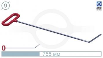 Фото Крючок со стандартным загибом, плоский  (длина 75,5 см, угол загиба 45º, длина загиба 130 мм, Ø 9 мм)