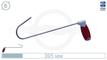 Фото Крючок с круговым загибом, правый,  плоский (длина 39,5 см, длина загиба 15 см,  Ø 6 мм)