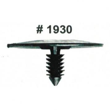Фото Комплект клипс для автомобилей GM, черные, 25 штук (Ø отверстия 6.4 мм, Ø шляпки 43.65 мм)