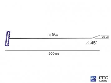 Фото Крючок со стандартным загибом, плоский (длина 90 см, угол загиба 45°, длина загиба 7,6 см, Ø 9 мм)