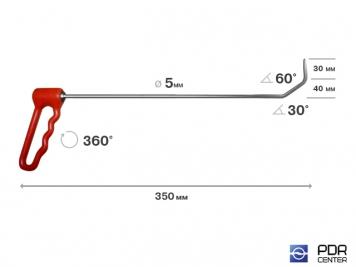 Фото Крючок с поворотной ручкой, угловой (Ø 5 мм, длина 350 мм)