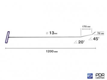 Фото Крючок с двойным загибом, плоский (длина 120 см, длина 1 загиба 17 см, длина 2 загиба 7 см, угол загиба 65°, Ø 13 мм)