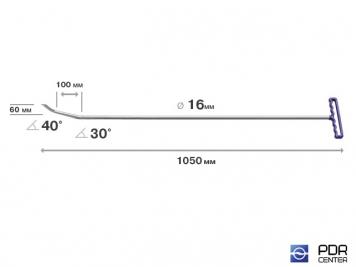 "Фото ""Берта"" с двумя загибами, острый (длина 105 см, длина 1 загиба 10 см, длина 2 загиба 6 см, угол загиба 70º, Ø 16 мм)"