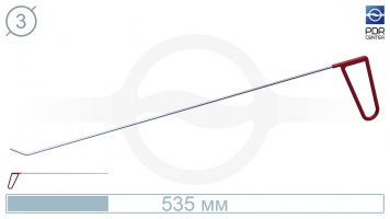 Фото Крючок правый угловой, плоский (длина 48 см, угол загиба 45º, длина загиба 20 мм, Ø 3 мм)