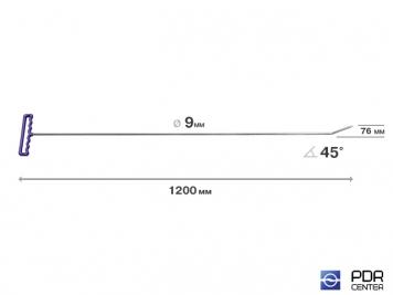 Фото Крючок со стандартным загибом, плоский (длина 120 см, угол загиба 45°, длина загиба 7,6 см, Ø 9 мм)