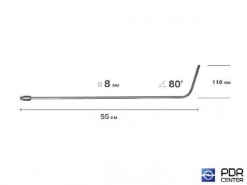 Фото Крючок дверной, плоский, без ручки (длина 55 см,  угол загиба 80º, длина загиба 115 мм, Ø 8 мм)