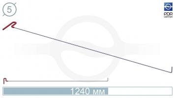 Фото Крючок с загибом 90º, плоский (длина 124 см, угол загиба 90º, длина загиба 45 мм, Ø 5 мм)