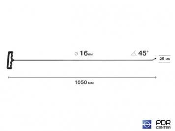 Фото Крючок со стандартным загибом для винтовых насадок (длина 105 см, длина загиба 25 мм, угол загиба 45º, Ø 16 мм)