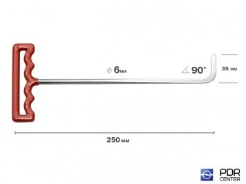 Фото Крючок со стандартным загибом, плоский (длина 25 см, угол загиба 90º, длина загиба 35 мм, Ø 6 мм)