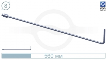 Фото Дверной крючок (длина 60 см, угол загиба 90º, длина загиба 8 см, плоский, без ручки, Ø 8 мм)
