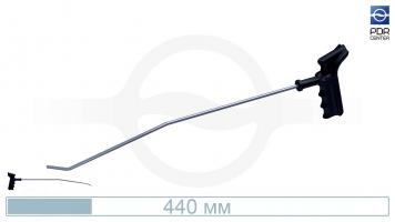 Фото Крючок со стандартным загибом, правый, плоский (длина 44 см,длина первого загиба 14,5 см, угол первого загиба 10º,  длина второго загиба 30 мм, угол второго загиба 45º, Ø 5 мм)