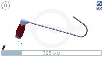 Фото Крючок с круговым загибом, левый, плоский (длина 39,5 см, длина загиба 15 см,  Ø 6 мм)