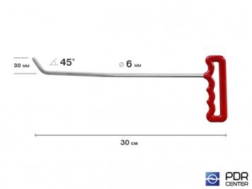 Фото Крючок правый угловой, градовый плоский (длина 30 см, угол загиба 45º, длина загиба 30 мм, Ø 6 мм)