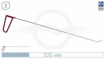 Фото Крючок левый угловой, плоский (длина 48 см, угол загиба 45º, длина загиба 20 мм, Ø 3 мм)
