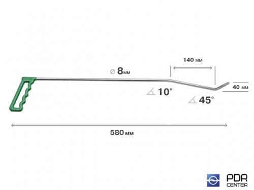 Правый угловой (длина 58 см, угол загиба 45º, Ø 8 мм)