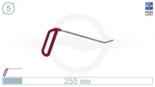 Крючок левый угловой, плоский (угол загиба 45º, Ø 5 мм)