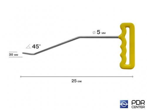 Крючок левый угловой, плоский (длина 25 см, угол загиба 45º, длина загиба 30 мм, Ø 5 мм)