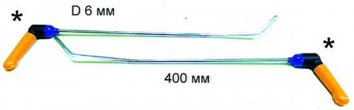 Крючки с поворотной ручкой для работы в полостях PR Bras-2 Platinum Длина 50 см, длина первого загиба 15 см, угол загиба 10º Длина второго загиба 5 см 45º. Ø6 мм.