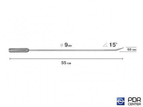Крючок прямой, острый (длина 55 см,  угол загиба 15º, длина загиба 50 мм, Ø 9 мм)