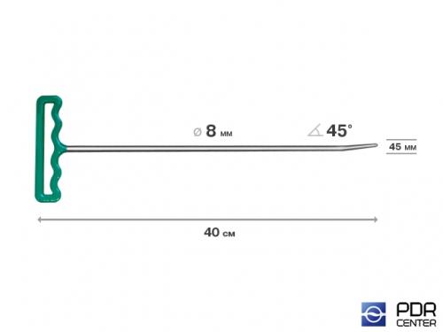 Крючок со стандартным загибом, закруглённый (длина 40 см,  угол загиба 45º, длина загиба 45 мм, Ø 8 мм)