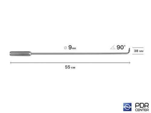 Крючок прямой под насадки A35 и A36  (длина 55 см,  угол загиба 90º, длина загиба 38 мм, Ø 9 мм)