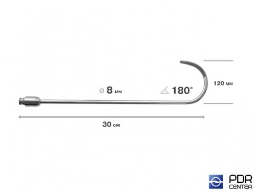 Крючок дверной, плоский, без ручки (длина 30 см,  угол загиба 180º, длина загиба 120 мм, Ø 6 мм)