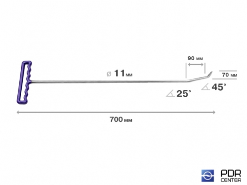 Крючок с двойным загибом, острый (длина 70 см, длина 1 загиба 9 см, длина 2 загиба 3 см, угол загиба 70°, Ø 11 мм)