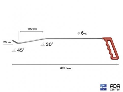 Левый угловой (длина 45 см, угол загиба 45º, Ø 6 мм)