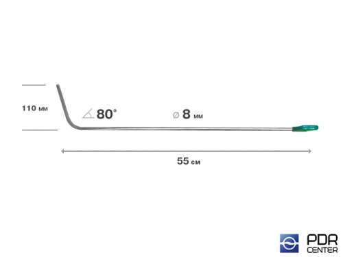 Крючок левый дверной, плоский (длина 55 см,  угол загиба 80º, длина загиба 110 мм, Ø 8 мм)