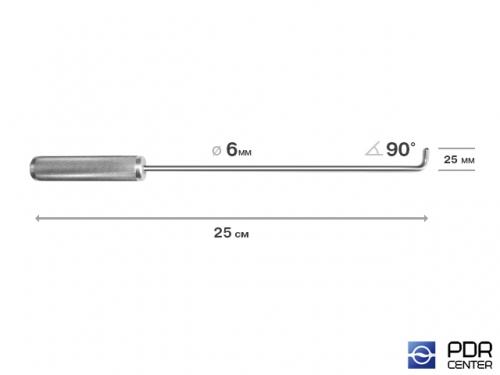 Крючок прямой под насадки A35 и A36  (длина 25 см,  угол загиба 90º, длина загиба 25 мм, Ø 6 мм)