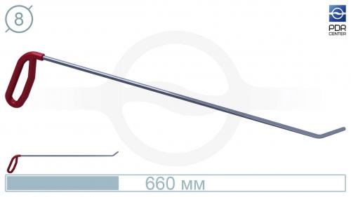 Крючок левый угловой, плоский (длина 66 см, угол загиба 45º, длина загиба 45 мм, Ø 8 мм)